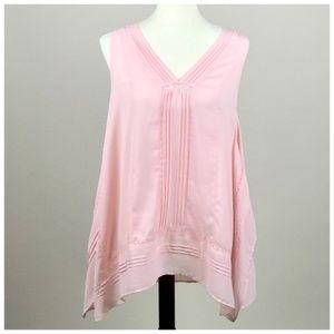 Pale Pink Sleeveless Tunic Blouse